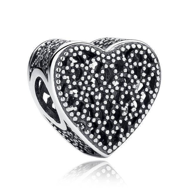 charms & beads S267 27 Styles of Hearts - 100% Authentic 925 Sterling Silver Charm Beads,  Fits Pan Charm Bracelets