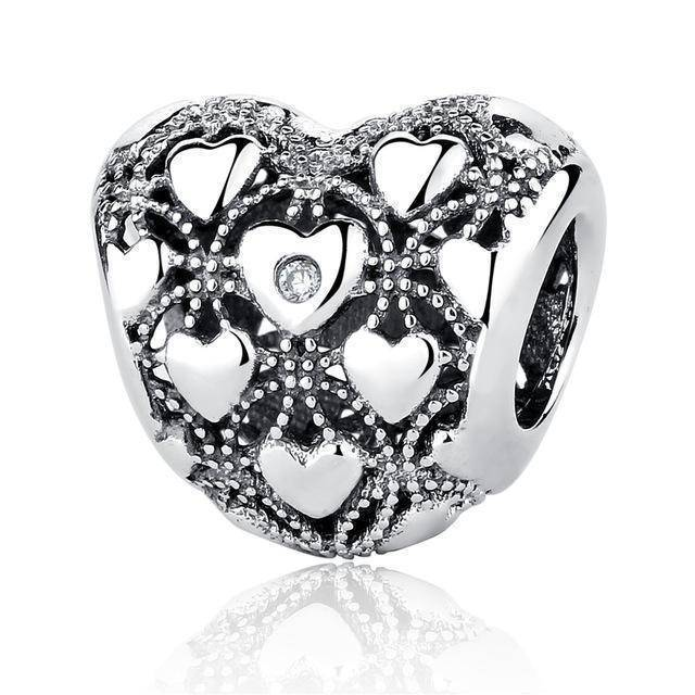 charms & beads S367 27 Styles of Hearts - 100% Authentic 925 Sterling Silver Charm Beads,  Fits Pan Charm Bracelets