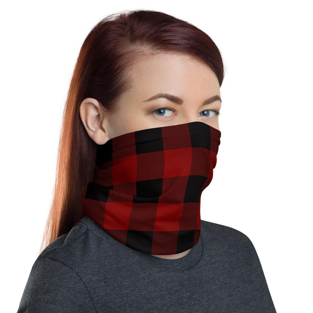 Checkered Red - Neck Gaiter 12in1 Multi functional Face Mask cover Head wear Headband wrap Balaclava Wristband For Women - US Fast Shipping