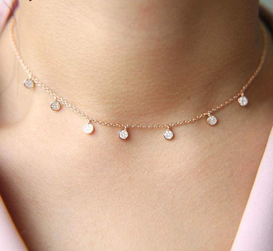 Choker 925 Sterling silver pave cz tiny cute drip drop choker necklace