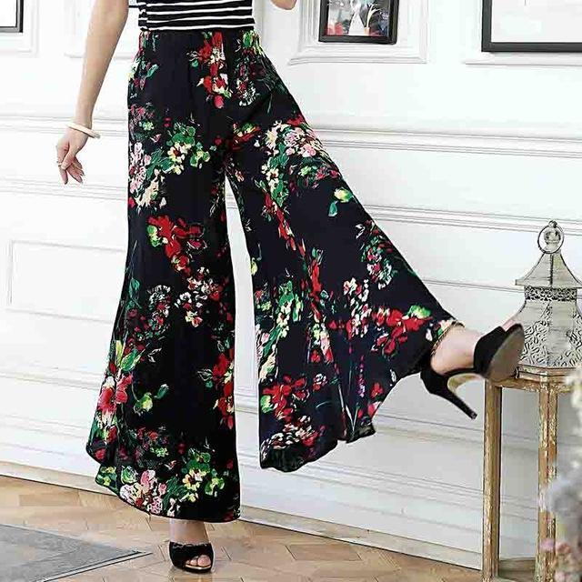 Clothing 01 / XL (US 14-16) Plus Size - Summer runway casual harem flare high waist loose floral Wide leg pants women clothing print Vintage trousers plus size (US 14-20W)