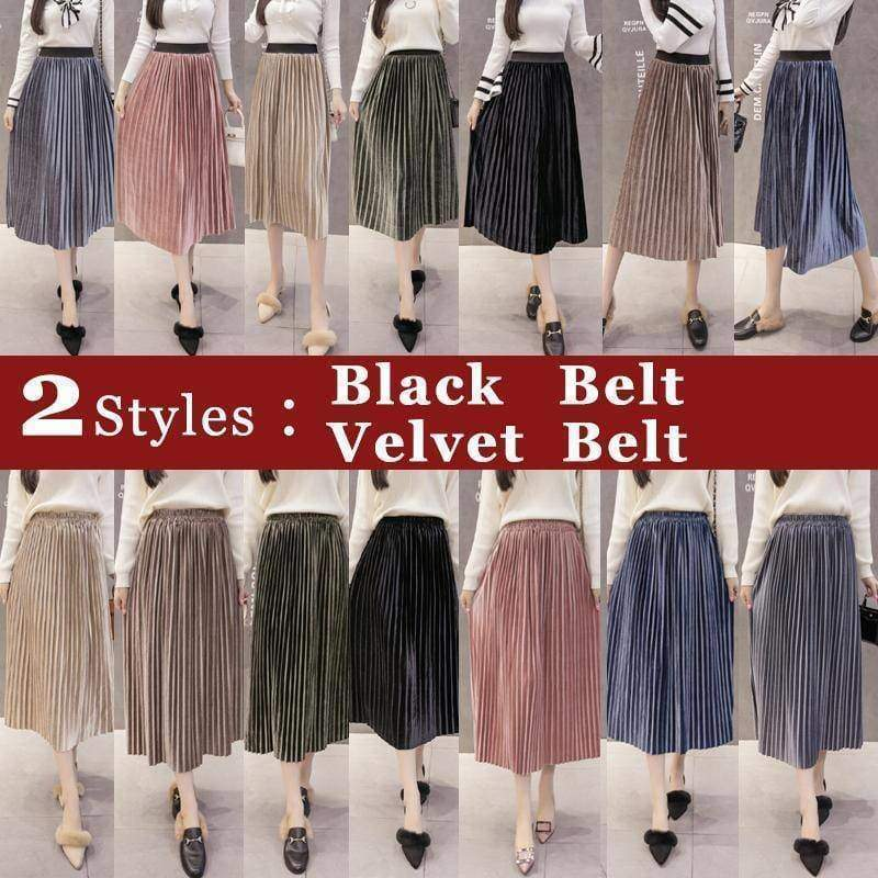 clothing 7 colors, S- XL, 2 Belt choices, Velvet Pleated Mid Calf Skirts