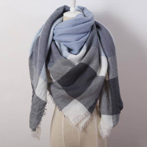 clothing aqua Oversize Solid Color Winter Square Scarf, XL Women Blankets,  Luxury Shawl 140cm x 140cm
