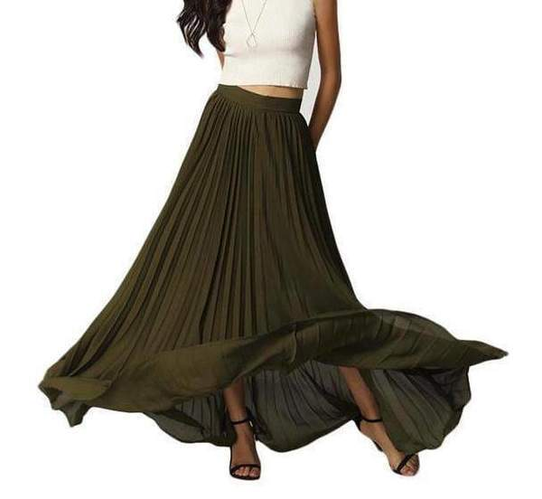 Clothing Army Green / S Custom Made Pleated Maxi Women's Skirt, handmade with High Waist zipper,  Floor Length Women Long Skirt Comfortable Chiffon