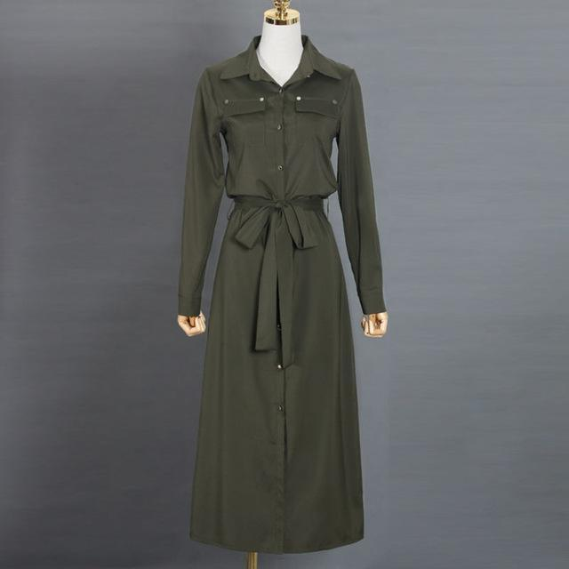 Clothing Army Green / S (US 10-12) Women Long Sleeve Maxi Dress Spring New Fashion Collar Buttons Long Shirt Dresses Open Slit Women Casual Dress Green Blue (US 10-18W)