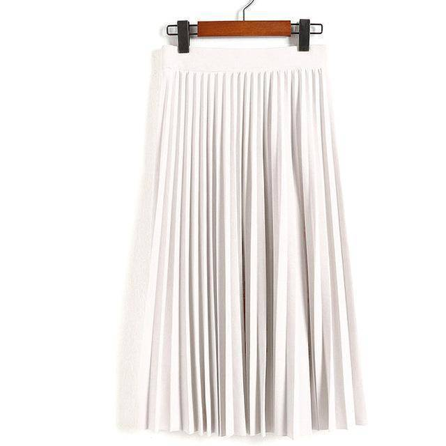 "clothing beige Fits Waist 25'-35"", 10 Matte Colors, Breathable, High Waist Pleated Ankle Length Chiffon Skirt"