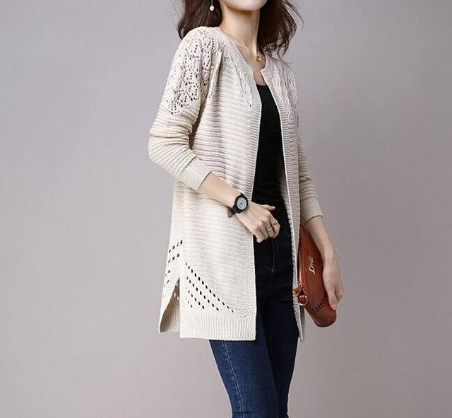 Clothing Beige / M (US 2-4) Fall Women Cardigan Solid Color Hollow Out Sweaters Size S-XXL Poncho Full Sleeve Open Stitch Female Knitted Outerwear (US 2-12)