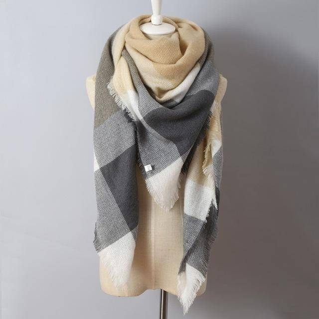 clothing beige Oversize Solid Color Winter Square Scarf, XL Women Blankets,  Luxury Shawl 140cm x 140cm