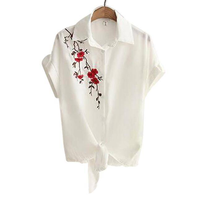 Clothing Beige / S (US 8-10) Embroidery White Top Blouses Shirts (US 8-16)