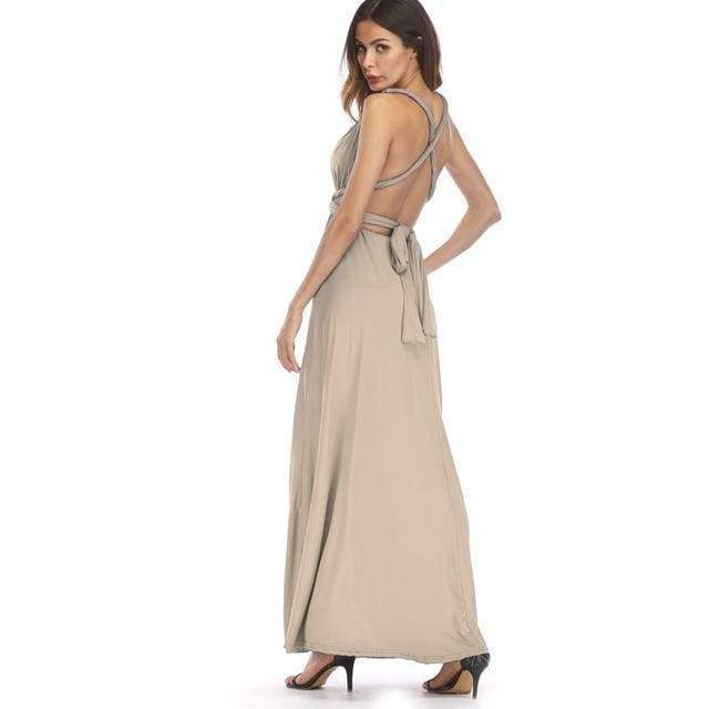 Clothing Beige / S (US 8-10) Plus Size - Infinity Convertible Wonder Dress,  20 Colors Summer Maxi Party Dresses Multiway Swing Dress  Wrap Dress (US 8 - 18 W)