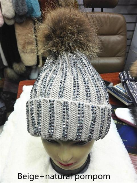 Clothing beige with natural Removable Winter Warm Fur Pom pom Knitted bling Hats,  Skullies Beanie With 15cm Fur Ball