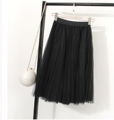 "clothing Black Fits 22"" - 41"" wasit - Three Layers, Tulle Elastic High waist Midi Skirt"