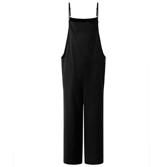 Clothing Black / L (US 16W-18W) Summer ZANZEA Women Cotton Linen Wide Leg Romper Casual Strappy Sleeveless Loose Long Jumpsuit Dungaree Party Overalls (US 16W-28W)