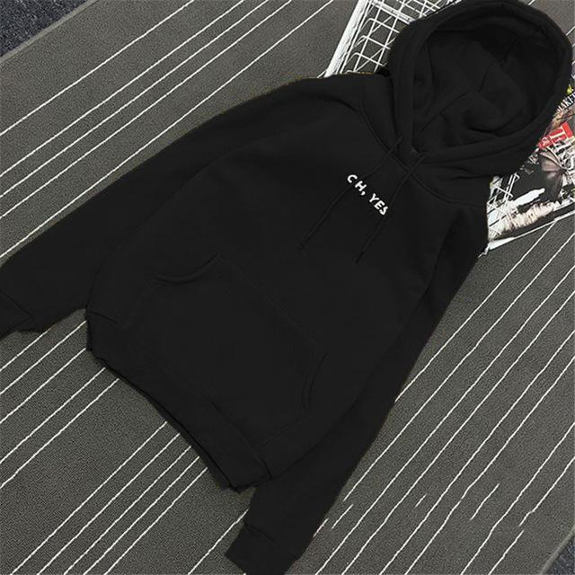 Clothing Black / M (US 12-14) Fsdhion Autumn Winter Fleece Oh Yes Letter Harajuku Print Pullover Thick Loose Women Hoodies Sweatshirts Female Casual Coat (US 12-18W)