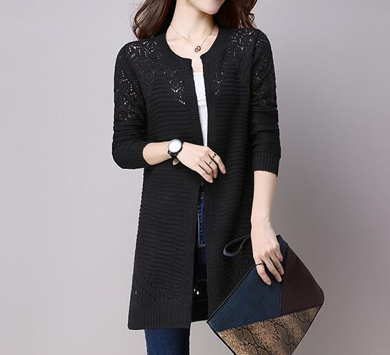 Clothing Black / M (US 2-4) Fall Women Cardigan Solid Color Hollow Out Sweaters Size S-XXL Poncho Full Sleeve Open Stitch Female Knitted Outerwear (US 2-12)