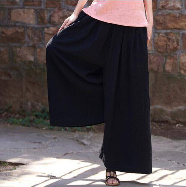 Clothing Black / M (US 2) Loose Wide  Elastic Waist Cotton linen Trousers (US 2-18W)