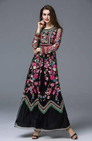 Clothing Black / M (US 6-8) Runway Designer, Long Gauze Floral Embroidery Dress (US 4-16)