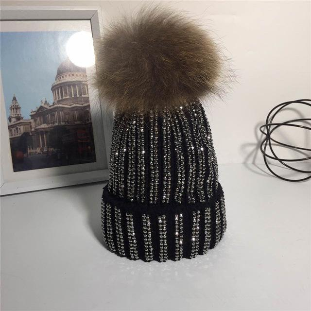 Clothing Black Removable Winter Warm Fur Pom pom Knitted bling Hats,  Skullies Beanie With 15cm Fur Ball
