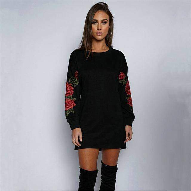clothing black / S Plus Size Rose floral Embroidery Long Sleeve Pullovers Sweatshirt Hoodies S-5XL