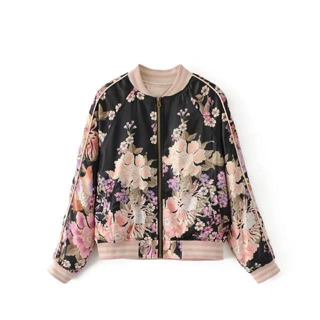 Clothing Black / S (US 14-16) Floral Print Bomber Jacket Women Coat New Fashion O Neck Long Sleeve Streetwear Outwear Casual Casaco Feminino (US 14-18W)