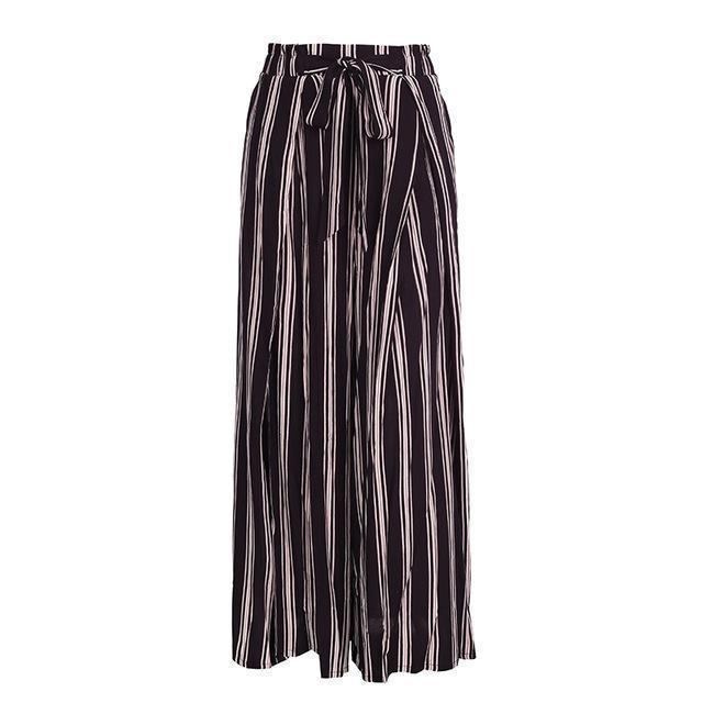 Clothing Black / S (US 2-4) High split stripe  high waist wide leg pants