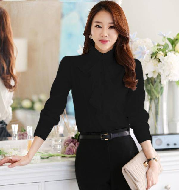Clothing Black / S (US 2) Chiffon Ruffles Shirts  (US 2-18W)