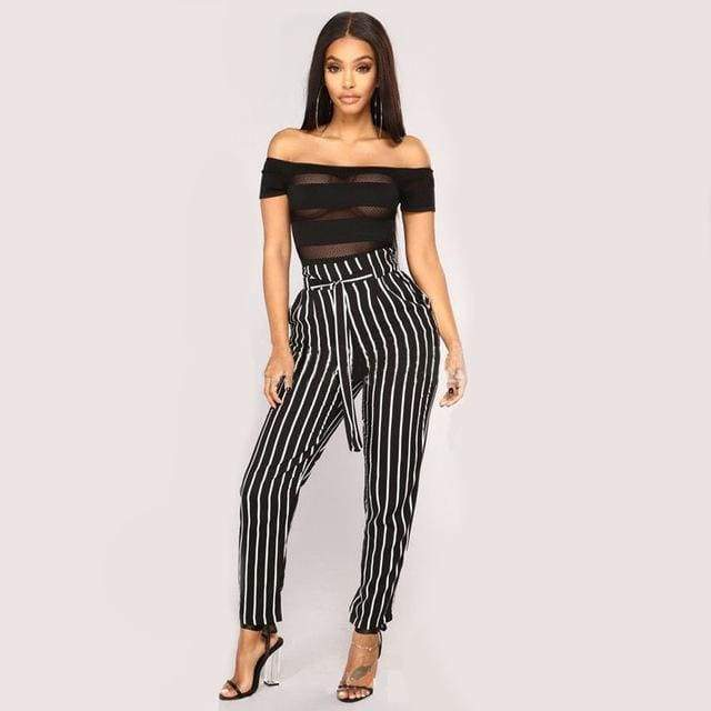 Clothing Black / S (US 2) Striped Strechy Elastic High Waist Harem Pants Women Bowtie Belt Slim Long Trousers Women's Casual Capris With Pockets (US 2-16)