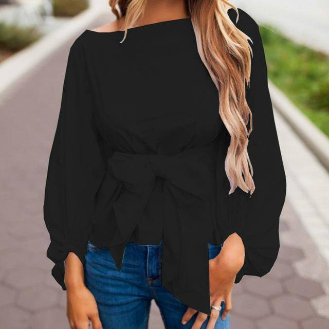 clothing Black / S (US 4-6) Chiffon Wrap Blouse Women Shirts  Lantern Long Sleeve (US 4-12)