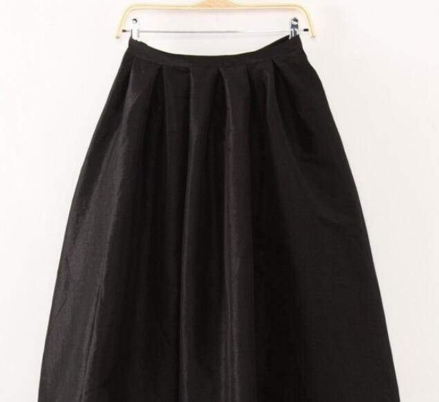 Clothing Black / S (US 4-6) Plus Size - Maxi Long Skirt Floor Length High Waisted Skirts 115 cm (US 4-18W)