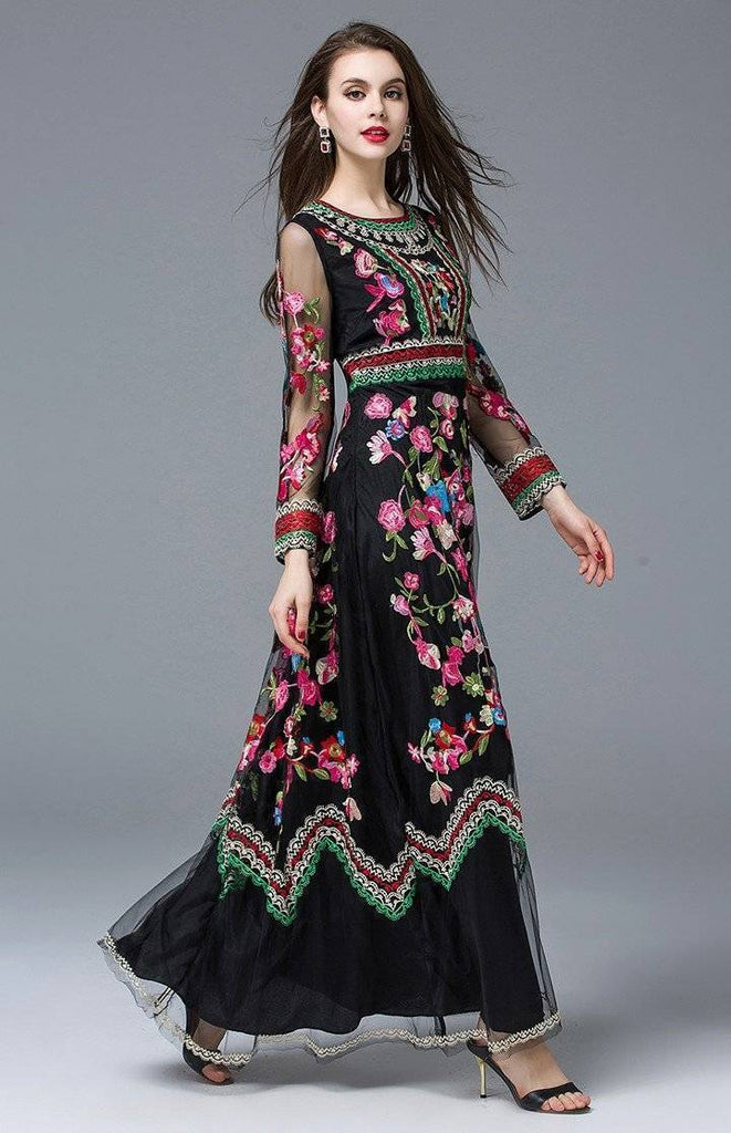 Clothing Black / S (US 4-6) Runway Designer, Long Gauze Floral Embroidery Dress (US 4-16)