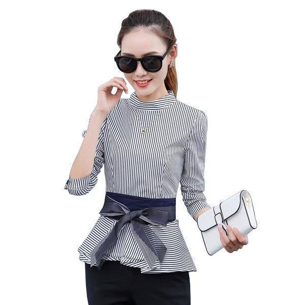 Clothing Black / S (US 4 ) Peplum Striped Blouses with Bow Long Sleeve Shirts  (US 4-12)