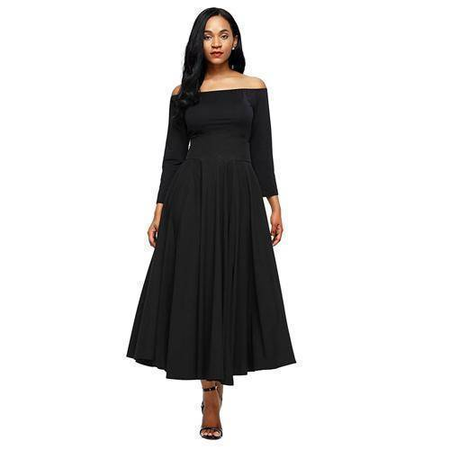 Clothing Black / S (US 6-8) Maxi Skirt vintage Retro High Waist Pleated  Long Skirts Back Bow with Belt (US 6-16)