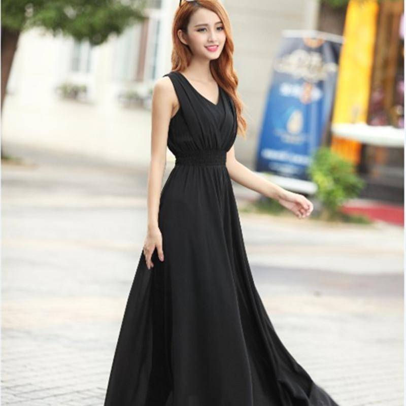 Clothing Black / S (US 6) Bohemian Dress Slim Sleeveless Beach V-Neck 6 Color Cute Style (US 6-12)