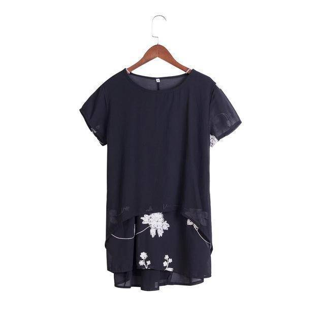 Clothing Black / S (US 8-10) Plus Size - Chiffon Blouse Loose Short Sleeve Embroidery Flower Print Patchwork (US 8-22W)