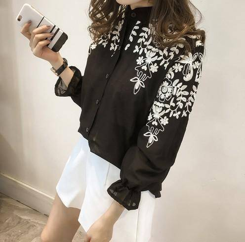Clothing Black / S (US 8-10) Plus Size - Embroidery Blouse Shirt Cotton Linen (US 8-20)