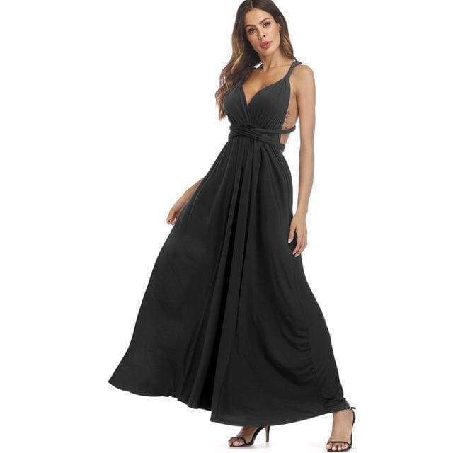 Clothing Black / S (US 8-10) Plus Size - Infinity Convertible Wonder Dress,  20 Colors Summer Maxi Party Dresses Multiway Swing Dress  Wrap Dress (US 8 - 18 W)