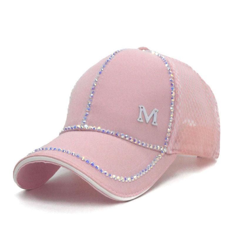 Clothing Bling baseball Cap, Women Breathable, adjustable Cap, Glam jewel sparkle hat in Pink white