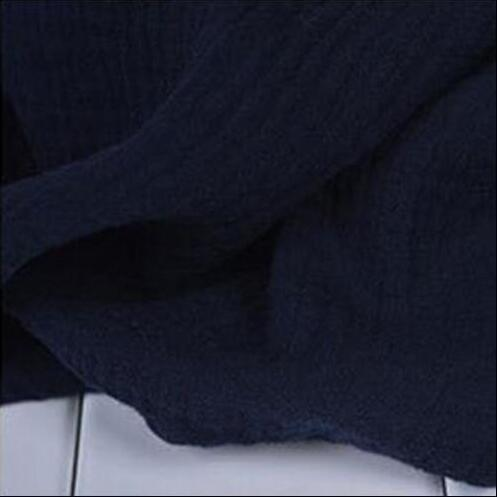 Clothing BLUE / M (US 2) Loose Wide  Elastic Waist Cotton linen Trousers (US 2-18W)