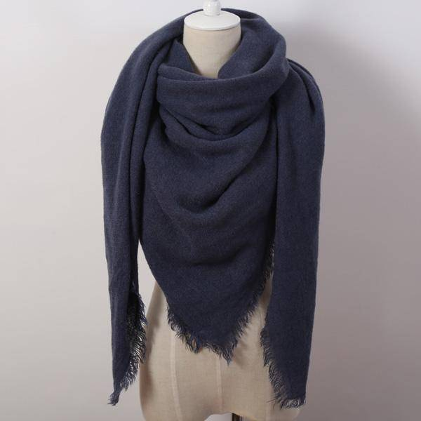 clothing blue Oversize Solid Color Winter Square Scarf, XL Women Blankets,  Luxury Shawl 140cm x 140cm