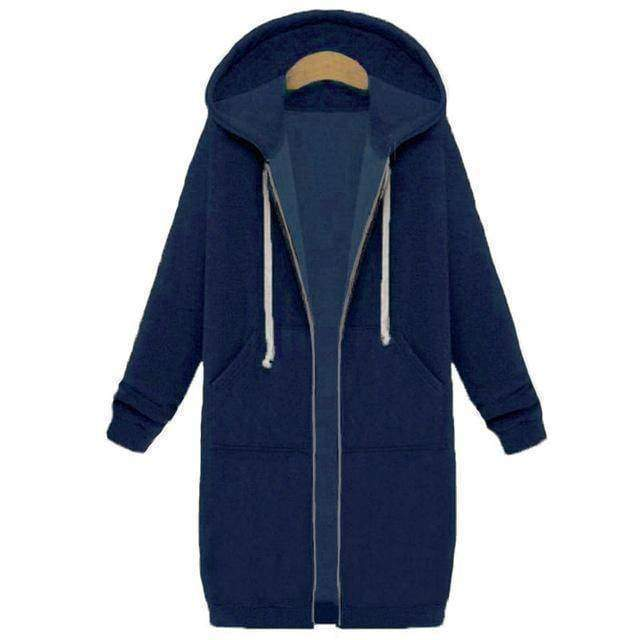 clothing Blue / S Oversized S-5XL Long Hoodies Coat with Pockets