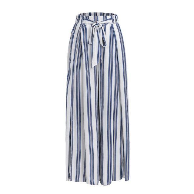 Clothing Blue / S (US 2-4) High split stripe  high waist wide leg pants