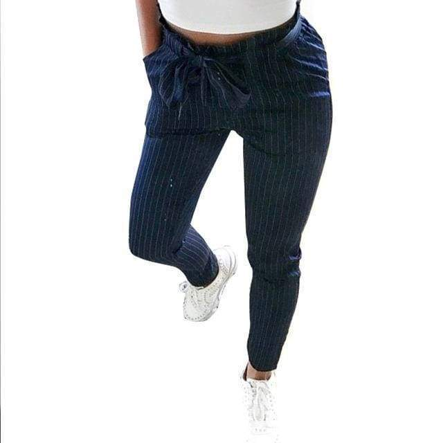 Clothing Blue / S (US 2) Striped Strechy Elastic High Waist Harem Pants Women Bowtie Belt Slim Long Trousers Women's Casual Capris With Pockets (US 2-16)