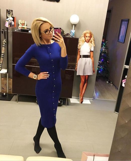 Clothing Blue / S (US 4-6) Knitting Autumn Winter Dress Warm Women Knitted Dress Mid-calf Package Hip Sheath Bodycon Dress Elegant Office Pin Up LX062 (US 4-14)
