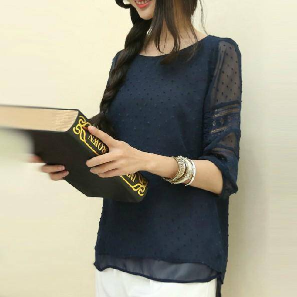 Clothing blue / S (US 4-6) Lace Shirt Summer Chiffon Blouse (US 4-16)