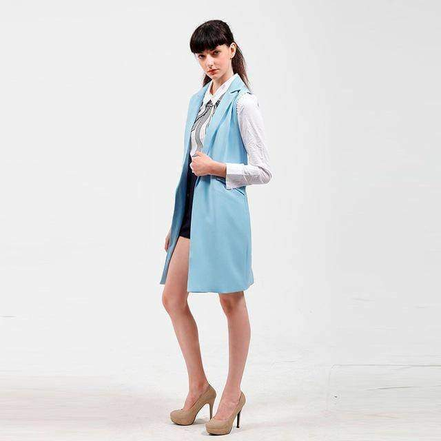 Clothing Blue / S (US 4-6) long blazer vest jacket with pockets  (US 4-16)