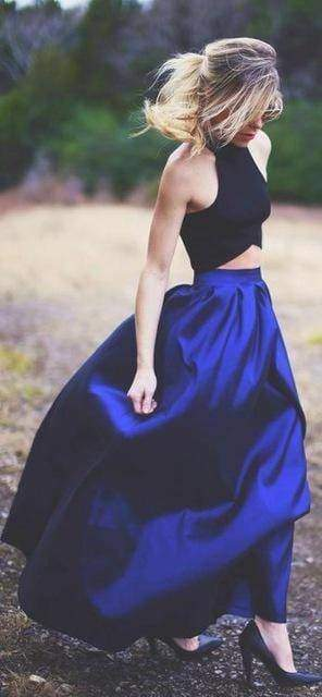 Clothing Blue / S (US 4-6) Plus Size - Maxi Long Skirt Floor Length High Waisted Skirts 115 cm (US 4-18W)