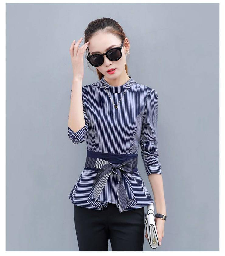 Clothing Blue / S (US 4 ) Peplum Striped Blouses with Bow Long Sleeve Shirts  (US 4-12)