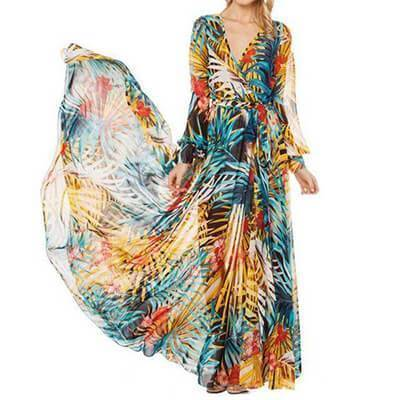 clothing Blue / S (US 6-12) Tropical, Bohemian, Summer bahamas Chiffon Maxi Dress Robe (US 6 -16)