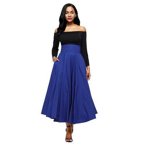 Clothing Blue / S (US 6-8) Maxi Skirt vintage Retro High Waist Pleated  Long Skirts Back Bow with Belt (US 6-16)