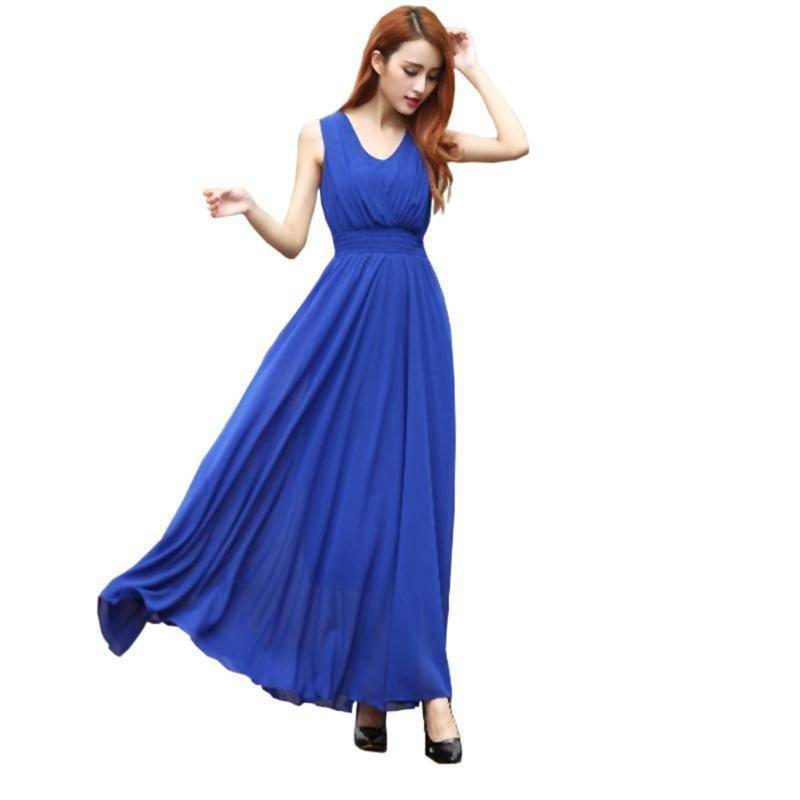 Clothing Blue / S (US 6) Bohemian Dress Slim Sleeveless Beach V-Neck 6 Color Cute Style (US 6-12)